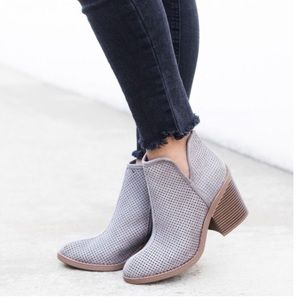 Shoes - Flash Sale✨ Gray Vegan Suede Ankle Booties